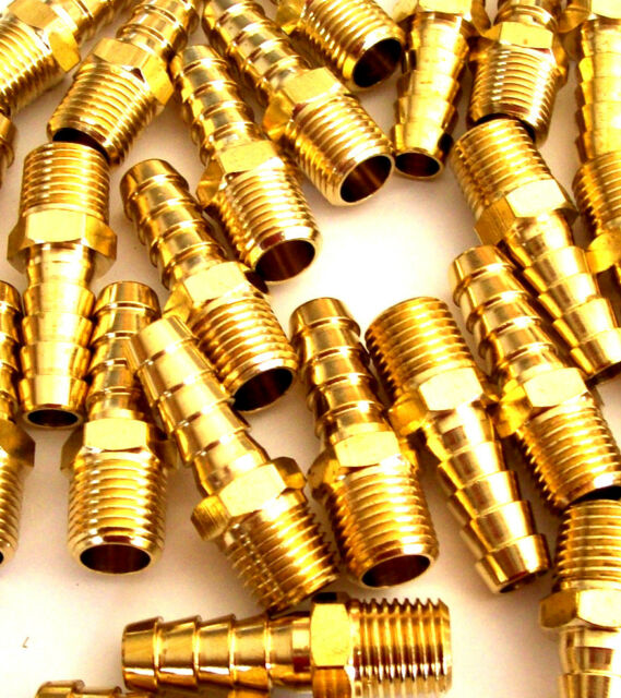 "10 BRASS AIR HOSE REPAIR FITTINGS 1/4"" NPT FOR 3/8 HOSE"