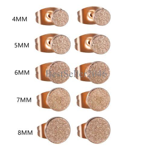 4//5//6//7//8MM Stainless Steel Mesh Circle Stud Earrings Men/'s Women/'s Jewelry 2pcs