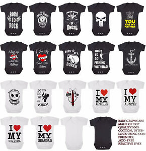 UNISEX-BABY-GROWS-Rock-Metal-Skull-Tattoo-Funny-Toddler-Newborn-Gift-Bodysuit