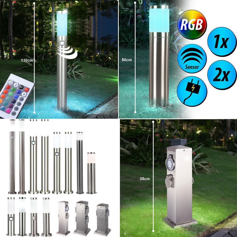 1-2x RVB LED lampadaires extérieurs dimmer télécommandes capteur jardin prises