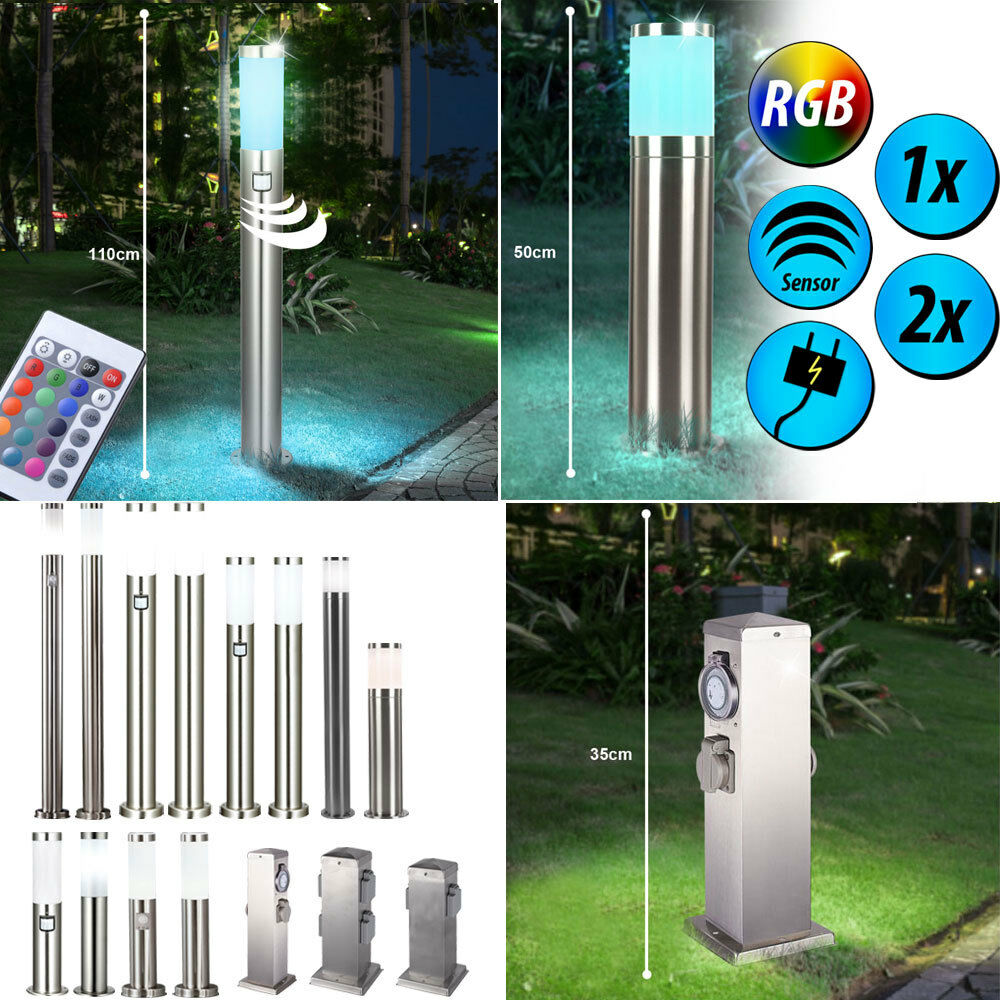 1-2x RGB LED Lámparas De Pie al Aire Libre Sensor De Control Remoto Dimmer zócalos de jardín NUEVO