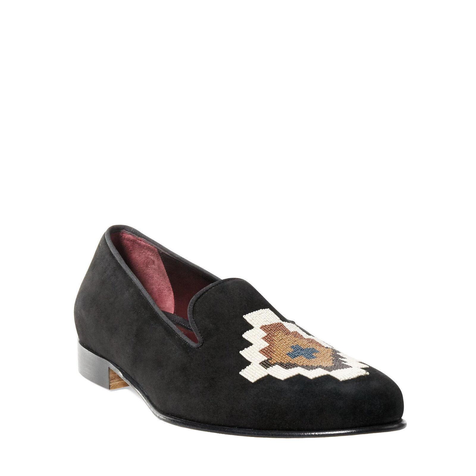 Ralph Lauren Purple Label Black Suede Collis Beaded Slippers shoes New