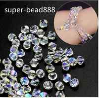 White AB 100pcs Bicone Crystal Glass Loose Spacer Bead Jewelry Making 4-8mm