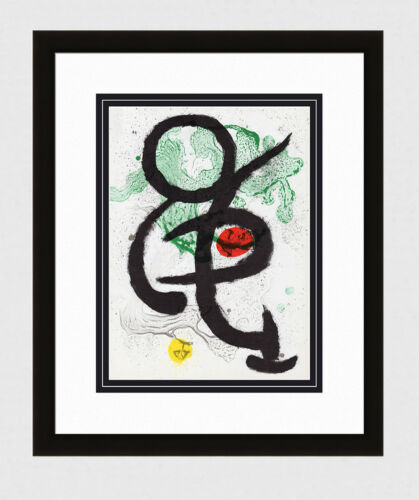 1963 Joan MIRO ORIGINAL COLOR Lithograph Abstract M345 AUTHENTIC Framed COA