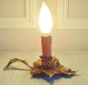 GORGEOUS FRENCH ART NOUVEAU CANDLE HOLDER RAT DE CAVE VINE LEAF BRONZE LAMP