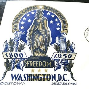 3-CENT-BLUE-STATUE-OF-FREEDOM-RARE-STAEHLE-CACHET-1950-Wash-DC-First-Day-Issue