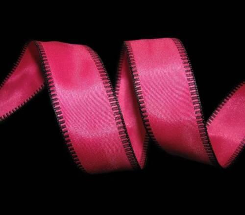 "5 Yards Solid Pink Black Edge Stitch Wired Ribbon 7//8/""W"