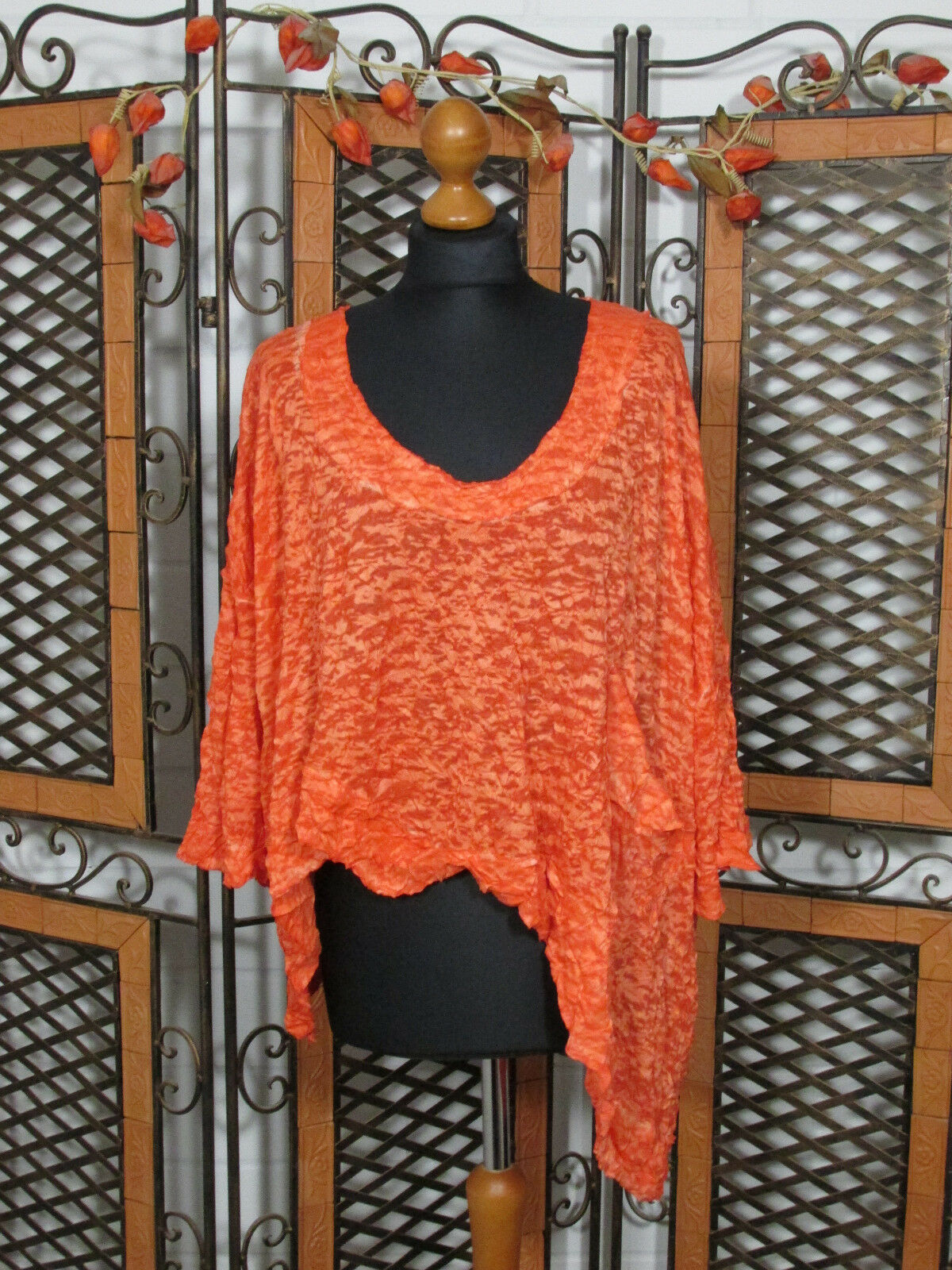 Barbara Speer asymetrisches Crash Shirt in orange NEU   Lagenlook