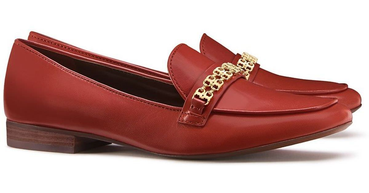 NIB Tory Burch Leather GEMINI LINK LOAFER shoes Redwood gold 10 M