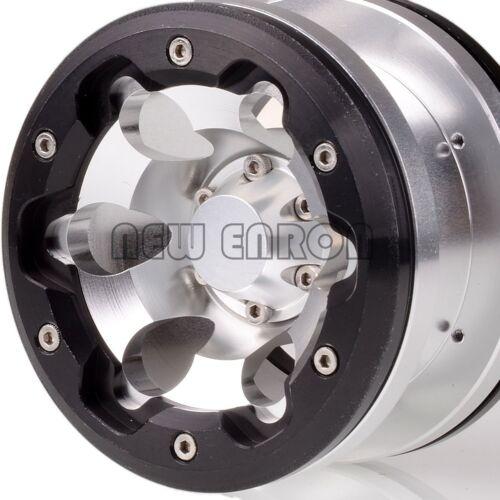 "SILVER-BLACK 2.2/"" 6 Holes Beadlock Wheels 4 For Axial Yeti//Wraith RC Crawler"