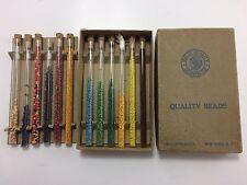 Vtg Walco Indian Native American Seed Bead Glass Tube Box Set