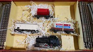 Marklin-echelle-ho-coffret-1-loco-030-3-wagons-de-marchandises-et-rails