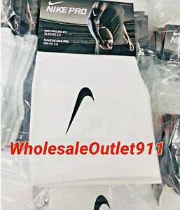 New-Nike-Pro-Arm-Sleeves-PAIR-Athletic-Sports-Compression-Gym-White-Adult
