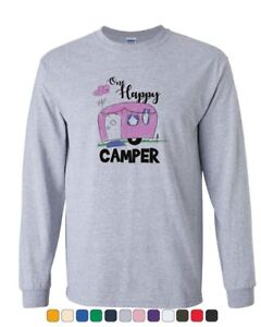 One-Happy-Camper-Long-Sleeve-T-Shirt-RV-Trailer-Camping-Nature-Wilderness-Tee