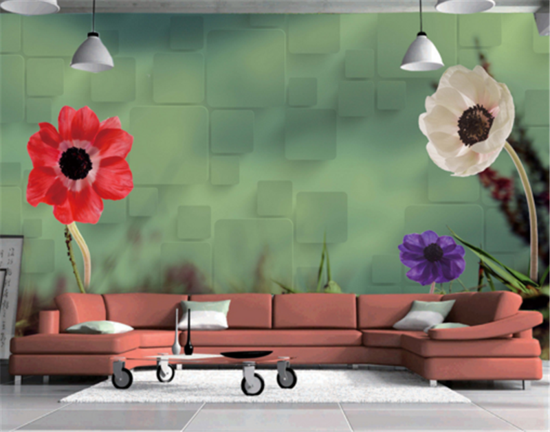 3D Farbeed Flowers Leaves 5 Wallpaper Mural Paper Wall Print Wallpaper Murals UK