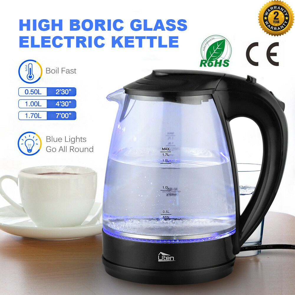 Illuminated Electric Kettle Glass 1.7L 360° Corded bluee Led Illuminating 2200W