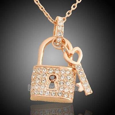 Lady's 18K Rose Gold GP key and lock Pendant Fashion Necklace W471