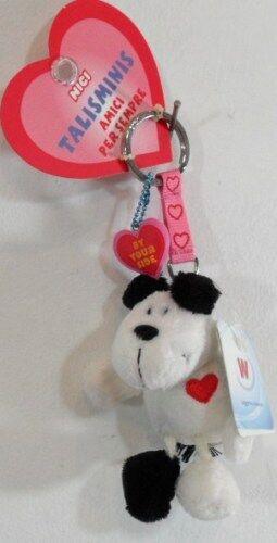 NICI Portachiavi con cane e cuore sul petto in peluche bianco//nero