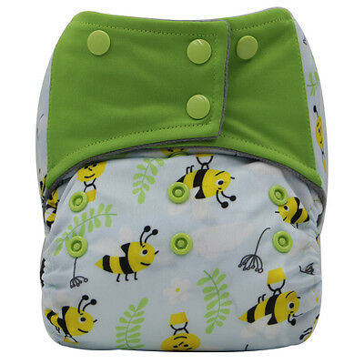 AIO Reusable Washable Cloth Diaper Nappy Charcoal Bamboo Insert Overnight A17