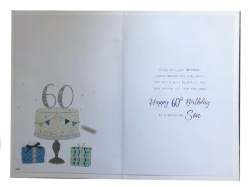 Details about  /To A Wonderful Son 60th 60 Cake Gifts Bunting /& Star Design Happy Birthday Card