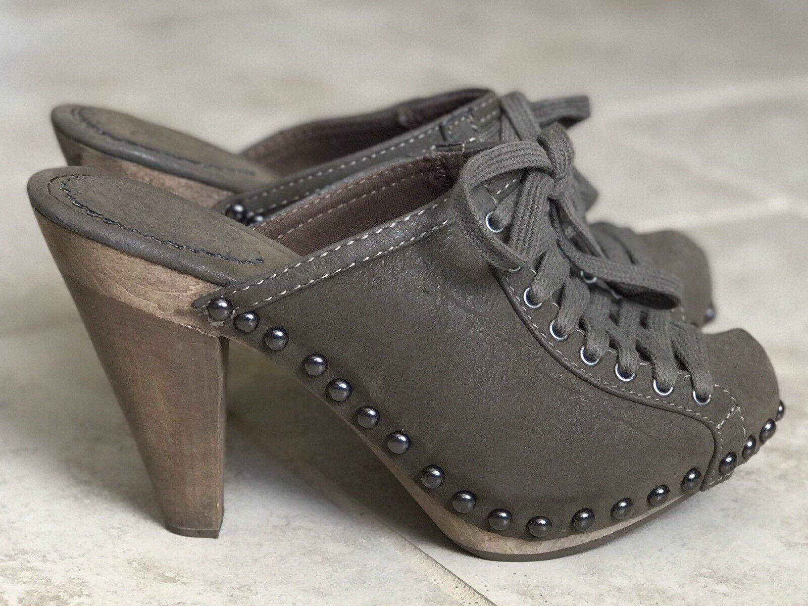Zara Leather Studded High Heel Slip On Mules  Platform Size 6.5   37 EUR Sage