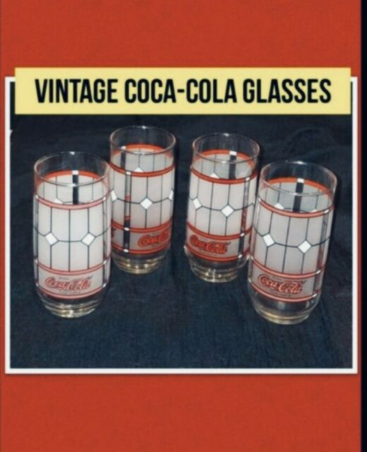 Vintage Set of 4 Coca-Cola Coke Frosted Stained Tiffany Style Drinking Glasses