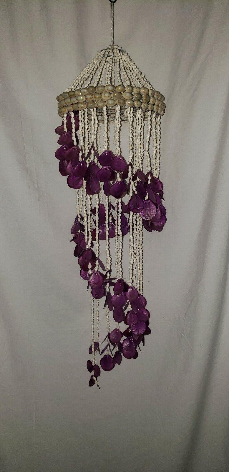 Vintage Colgante Shell Araña Púrpura Hecho a mano decoración de Océano