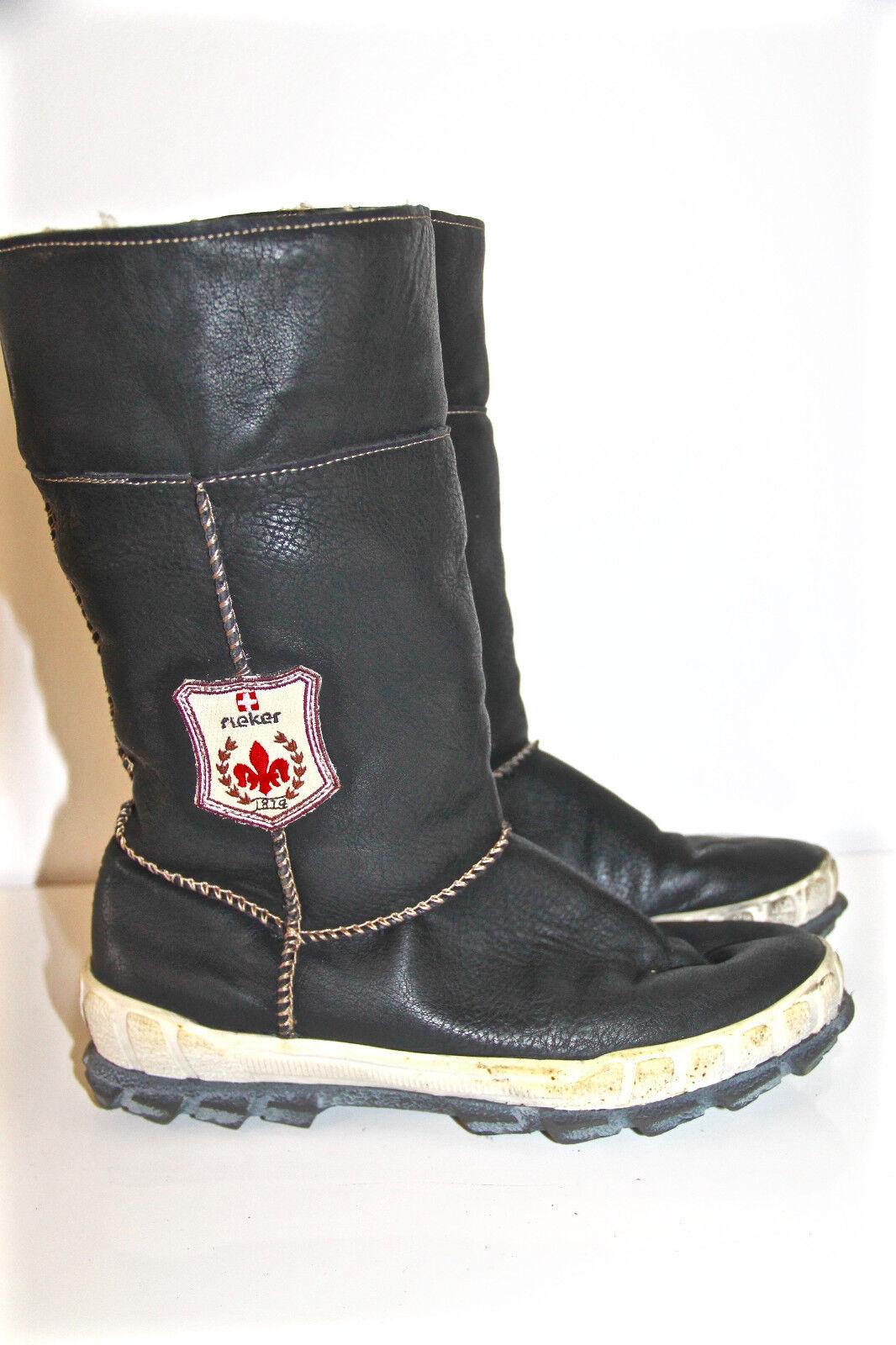 Jolies bottes fourrées en cuir black RIEKER pointure 37 EXCELLENT ÉTAT