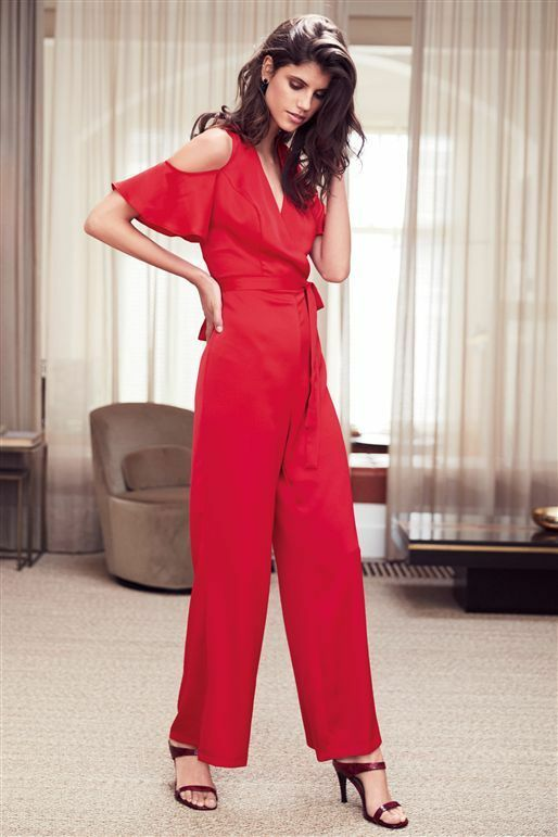 NEXT Red Satin Cold Shoulder Jumpsuit 16