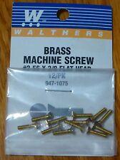 "Walthers #947-1075 / 2-56 Brass Flat Head Machine Screws -- 3/8 x .086"" pkg(12)"