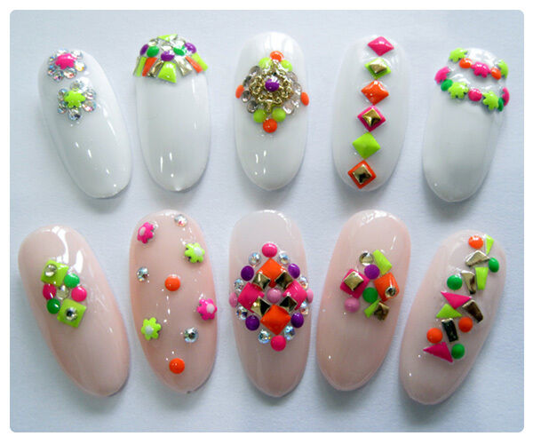 Nail Art Studs 3D Nail Art Decoration Neon Studs 3000 PIECES Gel Polish