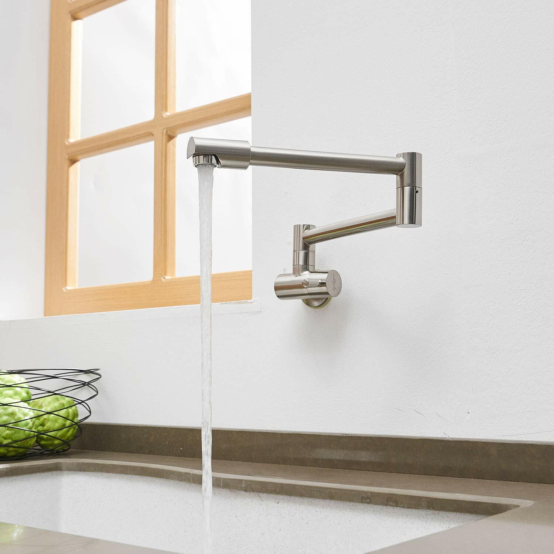 Avola Kitchen Sink Pot Filler Faucet,Wall Mount, Brushed Nickel Stainless  Steel