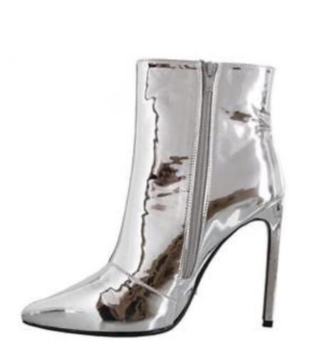 SZ 35-43 Femme Brillant Talon Haut Stilettos Côté Fermeture Éclair Bout Pointu toe Cheville Bottes Chaussures