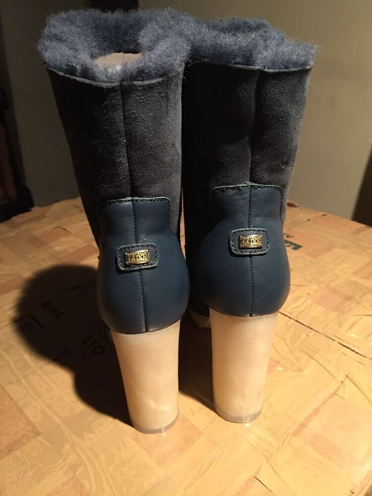 AUSTRALIA LUXE MIGHTY COLLECTIVE MIGHTY LUXE Blau Suede SHEEPSKIN Shearling Heel Stiefel SZ 8 0ed3dc