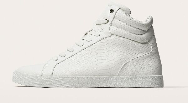 ZARA MAN HIGH TOP SNEAKERS WITH EMBOSSED SNAKESKIN EFFECT WHITE 39-47 R.5501/202