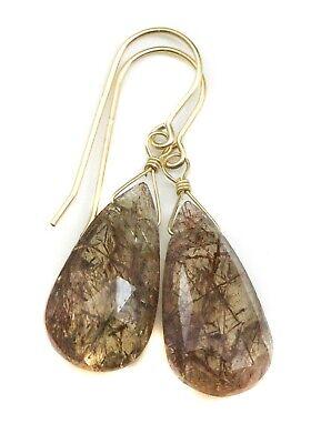 Rutile Quartz Earrings Bronze Long Rutilated Tourmalated Drops 14k Gold Sterling