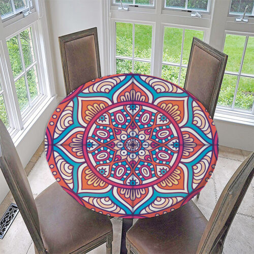 Elastic Protective Fitted Round Tablecover Table Pad ~Lotus Dia 1.2m