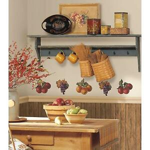 FRUIT-HARVEST-wall-stickers-26-colorful-decals-APPLES-amp-GRAPES-kitchen-scrapbook
