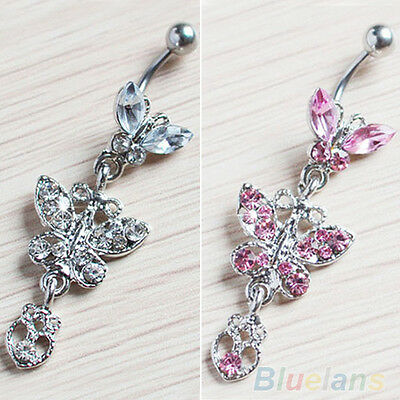 Crystal Butterfly Dangle Ball Barbell Bar Belly Button Navel Ring Body Piercing