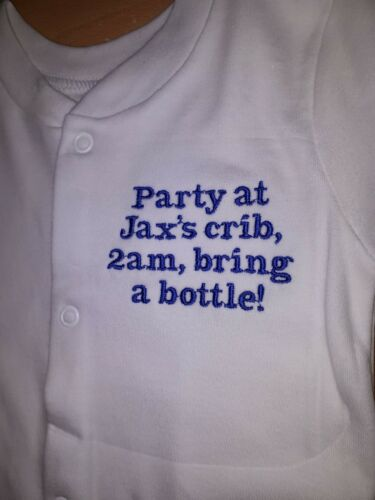 Personalised embroidered baby sleep suits New born gift Personalised baby grow