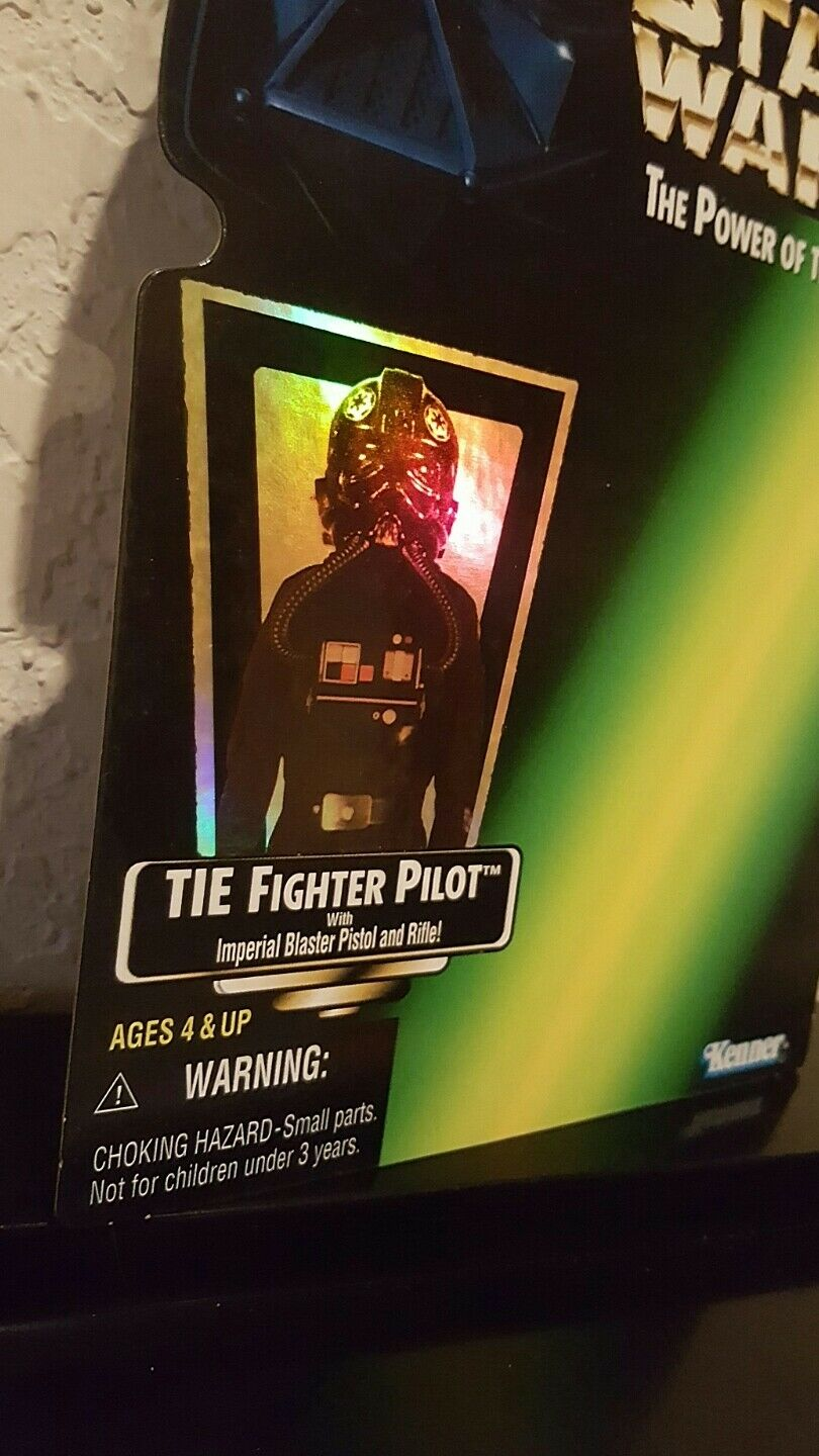 Kenner Star Wars The Power Power Power of the Force reflective Tie Fighter Pilot proof card 3877f2
