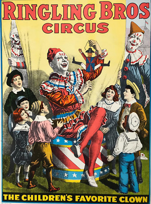 Art Print Picture VINTAGE CIRCUS Children/'s CLOWN Ringling Bros /& Barnum Bailey