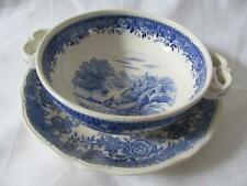 Villeroy & Boch China Dbl Hdl Cream Soup Bowl & Saucer -Burgenland Blue -Woman A