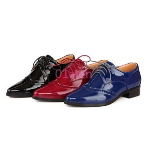 Womens-Pointy-Toe-Oxfords-Shiny-leather-Pumps-Brogue-Spring-Shoes-Flat-Oxfords