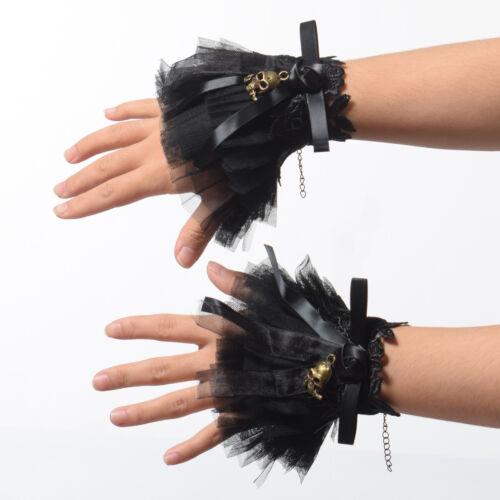 Retro Gothic Victorian Lace Yarn Cuffs Skull Flower Charm Costume Accessories