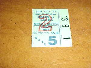 1963 Chicago Bears v Philadelphia Eagles Football Ticket 1027