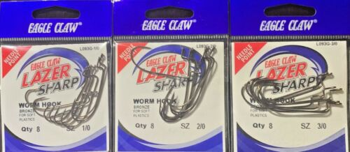 Eagle Claw Lazer Sharp Worm Hook Style L093G  Many Sizes Free Shipping