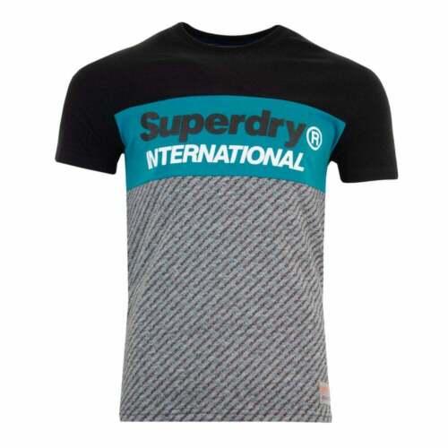 Black Superdry Mens Trophy Micro AOP T-Shirt