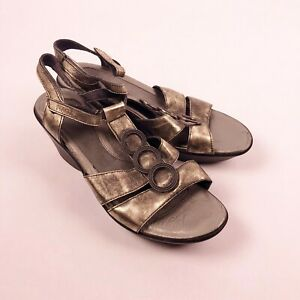 Naot-Metallic-Wedge-Sandals-Shoes-Ankle-Strap-Open-Toe-Size-41-US-10-10-5