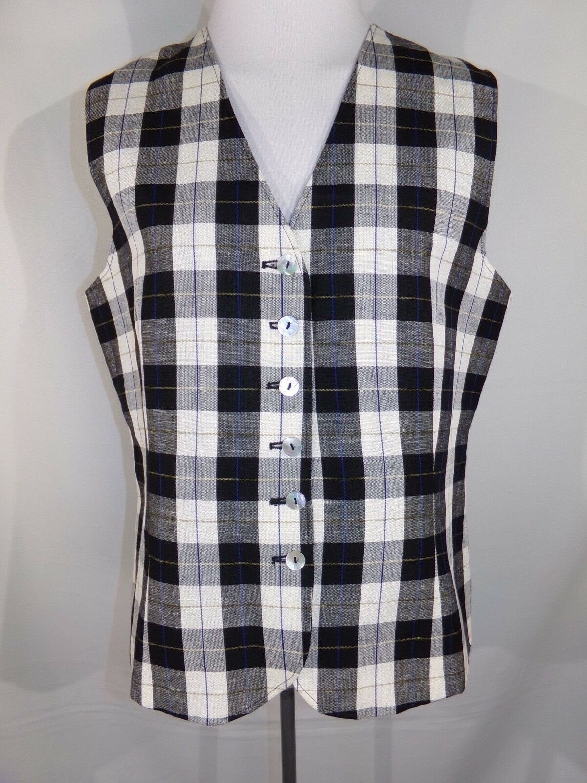 DAVID N. Woman's Black White Check Sleeveless Button Up Lined Linen Blend Vest